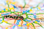 Close-up on Paris city on map travel destination concept poster