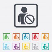 Blacklist sign icon. User not allowed symbol. Round squares buttons with frame. Vector poster
