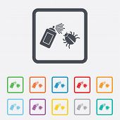 Bug disinfection sign icon. Fumigation symbol. Bug sprayer. Round squares buttons with frame. Vector poster
