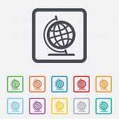 Globe sign icon. Geography symbol. Globe on stand for studying. Round squares buttons with frame. Vector poster