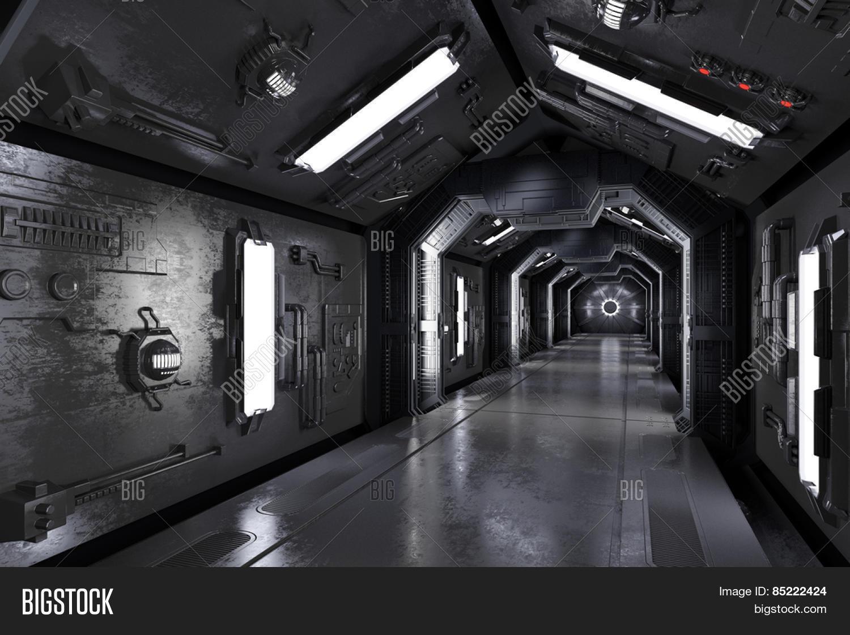 Amazing Dark Futuristic Spaceship Interior With Corridor (3D Rendering)