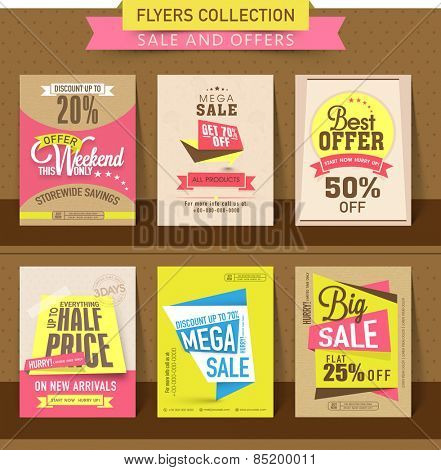 Set of Mega Sale flyer, poster or banner design with best discount offers.