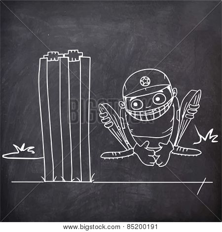 Cartoon of a wicket keeper in sitting position created by white chalk on chalkboard background.