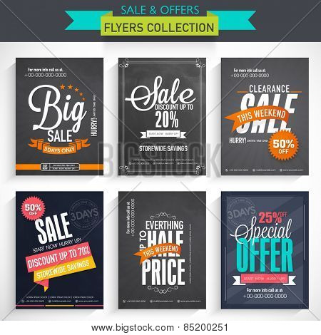 Set of six different Sale flyers with fantastic discount offer