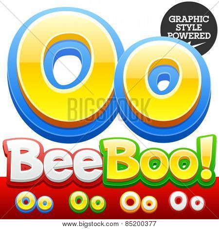 Vector set of 3D colorful children font in cartoon style. Optional different colors. Letter O