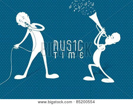 White silhouette of boys singing in mike and playing trumpet on blue abstract background.