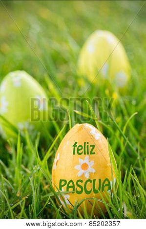 feliz pasqua against easter eggs in the grass