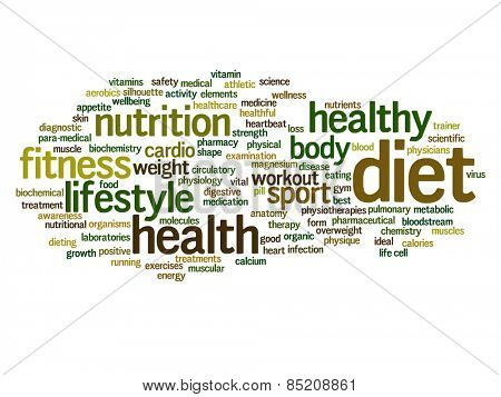 Concept or conceptual abstract word cloud with a hand on touch screen on white background for health, nutrition, diet, wellness, body, energy, medical, fitness, medical, gym, medicine, sport or heart poster