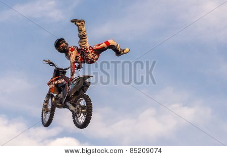 Khabarovsk - Aug 23: A Professional Rider At The Fmx (freestyle Motocross) Competition At Open Perfo