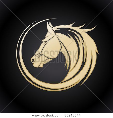 Gold horse logo template.