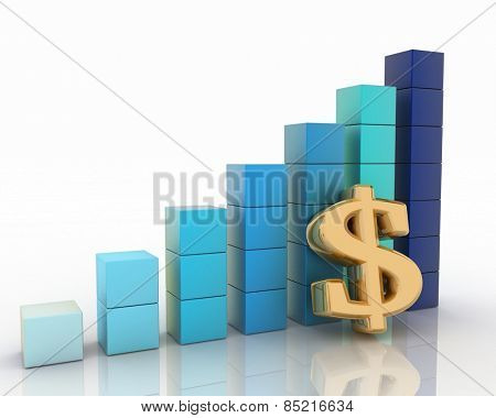 Chart of height and sign of dollar. 3d illustration on white background.