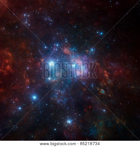 space scene with stars and nebula