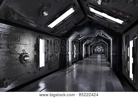 Dark futuristic spaceship interior with corridor (3D Rendering)