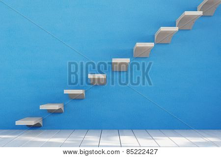 Staircase with single stairs on a blue wall (3D Rendering)
