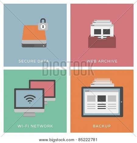 Secure data - set of flat design illustrations / icons