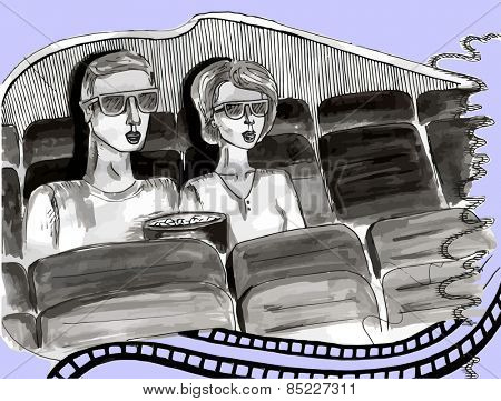 couple in 3d cinema wearing glasses- hand-drawn sketch