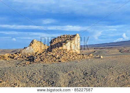 Coastline In Lanzarote In Playa Blanca With Destroyed Old Fishermens Hut