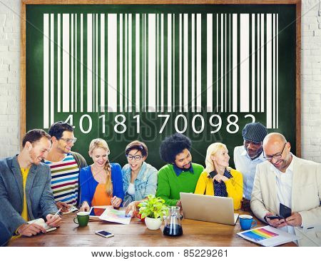People Encoding Bar Code Coding Concept