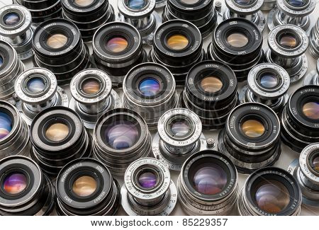 MOSCOW, MARCH 3: Soviet rangefinder m39 lenses on March 3, 2015 in Moscow. These lenses are made in the 50-80's are still popular among photographers who use it  with digital cameras