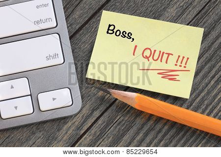 message to boss showing quit decision