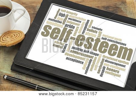 self-esteem word cloud on a digital tablet with cup of coffee