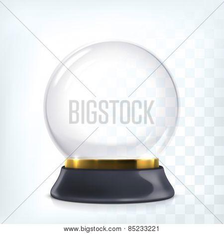 Vector transparent empty snow globe. Christmas crystal ball.