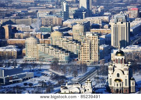 YEKATERINBURG, RUSSIA - JANUARY 2, 2015: Aerial view to the Church on Blood in Honor of All Saints Resplendent in the Russian Land. The church built on the site where Nicholas II was shot