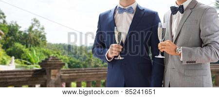 people, celebration, homosexuality, same-sex marriage and love concept - close up of happy married male gay couple drinking sparkling wine from glasses on wedding over balcony and nature background