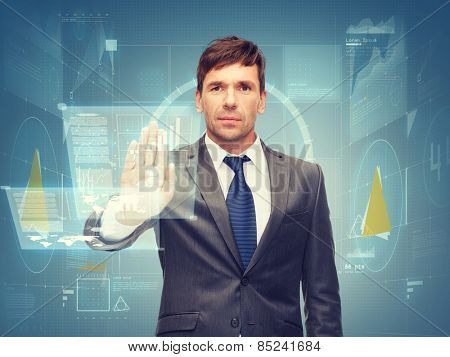 business and office, ban, veto, warning concept - attractive buisnessman working with virtual screen