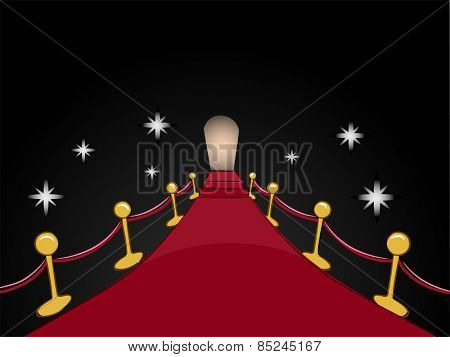 Illustration of a Red Carpet Leading to a Distant Entrance poster