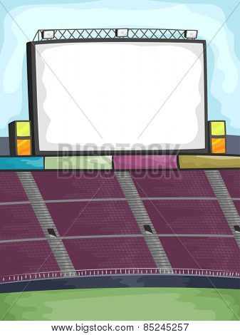 Background Illustration of a Jumbotron in the Corner of an Outdoor Stadium