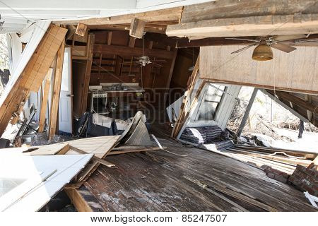 interior of home destroyed in hurricane