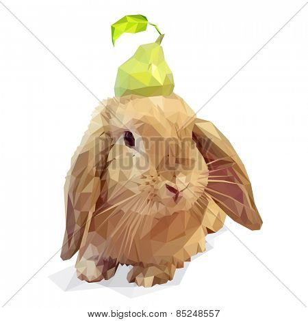 Vector polygonal Easter bunny and a pear