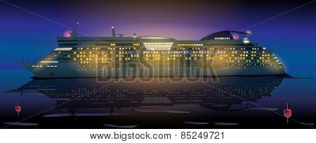 Big cruise ship in ocean at night. EPS 10 format.