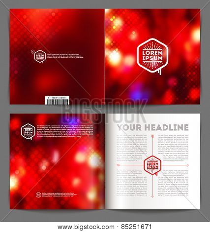 Vector abstract template booklet design - cover and inside pages