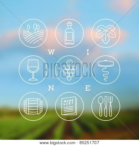 Line drawing vector set of wine and winemaking icons and emblems
