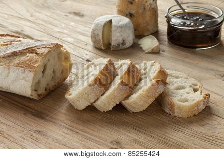 Traditional authentic French baquette in slices