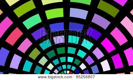 Semicircles of multicolored blocks on a black background.