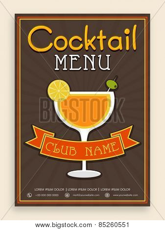 Vintage Cocktail menu card design for club, pub, night parties and beer bar.