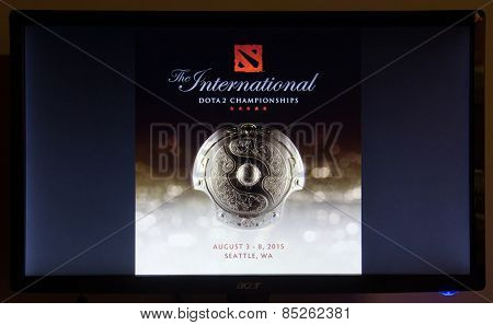 Depew, OK, USA - March 14, 2015: The International is an annual eSports Dota 2 championship tournament hosted by Valve Corp, the game developer behind Dota 2, in which 16 teams are invited to compete.
