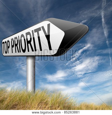 top priority important very high urgency info lost importance crucial information road sign arrow highest importance