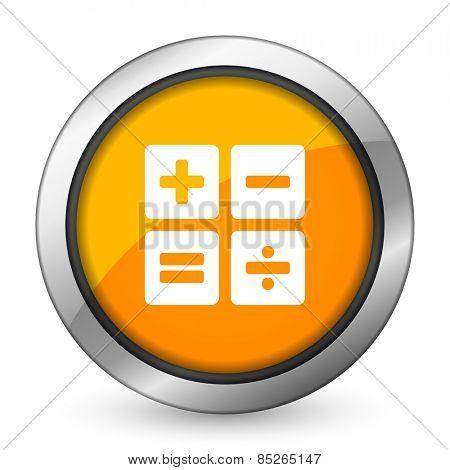 calculator orange icon calc sign