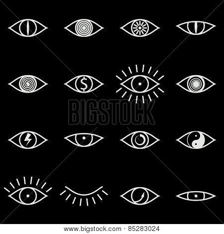 Set of Various Eye Icons on Black Background