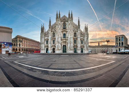 Panorama Of Milan Cathedral (duomo Di Milano), Vittorio Emanuele Ii Gallery And Piazza Del Duomo In