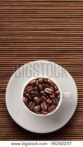 Coffee beans on bamboo floor
