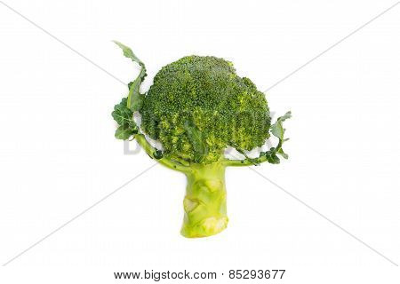 Fresh Green Broccoli Dancing Isolated On White Background