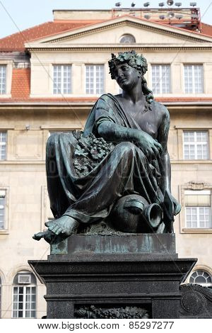 GRAZ, AUSTRIA - JANUARY 10, 2015: Archduke Johann Fountain, allegorical representation of the river Drau, Hauptplatz square, Graz, Styria, Austria on January 10, 2015.
