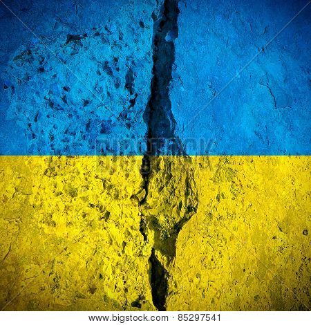 Vignetting Photo of Cracked and Dirty National Flag of Ukraine poster