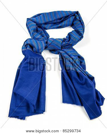 Blue scarf of pashmina isolated