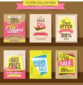 Set of Mega Sale flyer, poster or banner design with best discount offers. poster